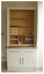 kitchen 'office' cupboard with pigeon holes, bookshelves and file storage designed by Bruce Runton