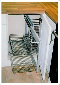 kitchen accessories from celtica kitchens: recycling bins, wirework
