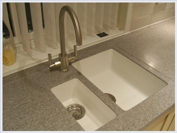 solid surface worktop with integral sink
