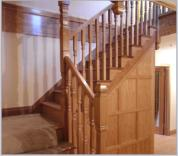 staircase with oak panelling in period farmhouse South Wales made by Troakes Joinery Aberdare
