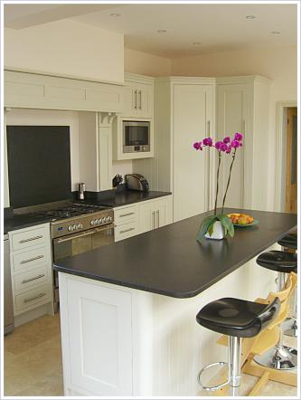 bespoke kitchen designed by Cameron Pyke of Celtica Kitchens, Celtica Heritage. Handpainted with island, granite worktops, walk-in corner cupboard, plywood cabinets