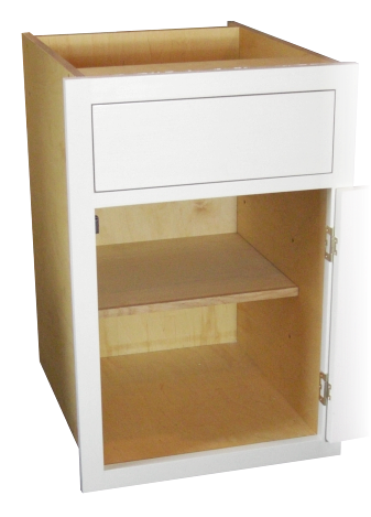Kitchen cabinet: 'in-frame' with traditional face frames; built in birch multi-ply with hardwood fascia